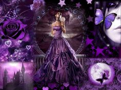 Purple Roses | PURPLE, FANTASY, FEMALE, FLOWERS, HEARTS, MOON, PURPLE, ROSES, STARS