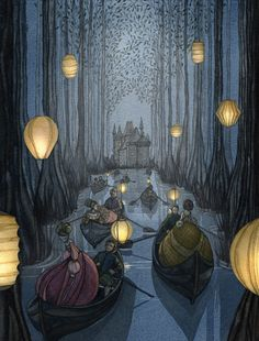 Daniela Terrazzini #Illustration #fairytale #party #gathering #ball #forrest #lantern #magic #balldresses #nighttime #boat #row #elves #rivendale #fantasy #occasion #watercolour #childrensillustration #childrensstories