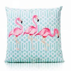 Kissen 3 Flamingos 45x45cm türkis-pink