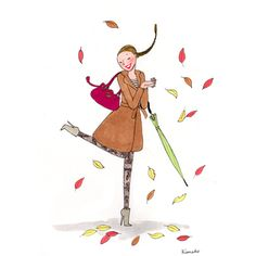 Dancing in the leaves. Paris Illustration, Nature Illustration, Cute Illustration, My Little Paris, Pretty Drawings, Paris Art, Painting People, Jolie Photo, Girly