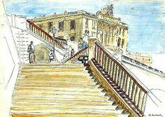 Peinture d'Algérie : Peintre Français, Etienne Bouchaud,(1898–1989), Aquarelle et encre , Titre :L'Escalier devant le palais consulaire, Alger