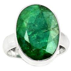 Emerald 925 Sterling Silver Ring Jewelry s.5 EMER1538 - JJDesignerJewelry