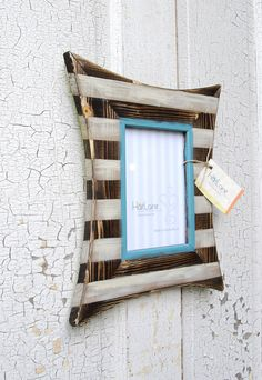 Love this distressed striped frame