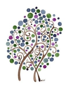 Whimsical watercolor tree! i want to do thiss pronto