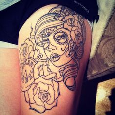 rose tattoos with skull | thigh tattoo tattooed girl sugar skull sugar skull tattoo rose tattoo ...