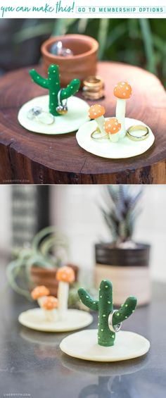 Make This Incredibly Cute DIY Clay Cactus Ring Holder! Make This Incredibly Cute DIY Clay Cactus Ring Holder! <br> Nothing says love quite like a prickly plant. Hang your wedding bands in style with this super adorable clay cactus ring holder! Ceramics Projects, Clay Projects, Diy Clay Rings, Clay Crafts For Kids, Felt Crafts, Paper Crafts, Keramik Design, Diy Jewelry Inspiration, Cute Clay