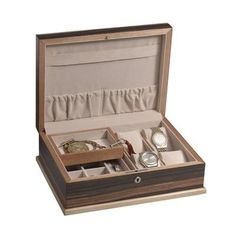 Very nice men's maple wood executive jewelry valet box awesome wedding present or birthday or even Father's day gift idea for him!