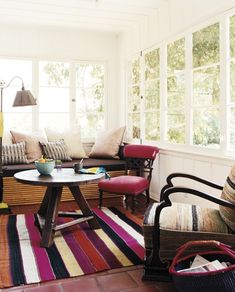 Sitting Room with Red Striped Rug, Nickey Kehoe, Remodelista