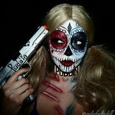YOUTUBE www.youtube.com/c/SydneyNicoleTheCatsMeow | Harley Quinn Skull, Harley Quinn Makeup, Day of the Dead Makeup, Sugar Skull, Skeleton makeup, SFX, Special Effects makeup, Glitter makeup, Mehron makeup, NYX Cosmetics, Suicide Squad, Cosplay makeup