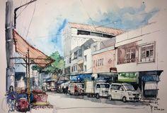 Kampung Damaran Semarang #sketch #watercolor