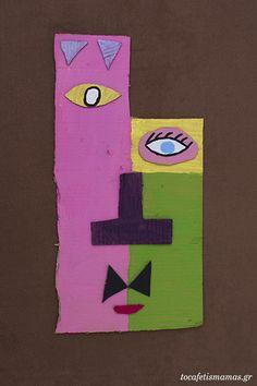 Πρόσωπα από χαρτόκουτα. - To Cafe tis mamas Diy Crafts, Logos, Art, Art Background, Kunst, Diy Home Crafts, Logo, Do It Yourself Crafts, Art Education