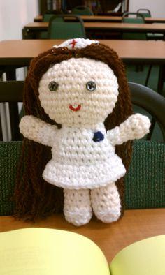 Crochet nurse doll, made to match my nursing school uniform.