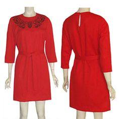 1980s Red Vintage Mini Dress Black Embroidery Anthony Richards Key Hole Opening  #AnthonyRichards