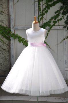 Ivory Pink Sash girl dresses Flower girl dress G180P #Adorona