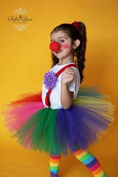 girls clown tutu set 5 pieces  leg warmers tie dye rainbow flower clip available in 12 months - 6. $42.00, via Etsy.