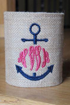 Anchor Monogrammed Burlap or Seersucker Koozie