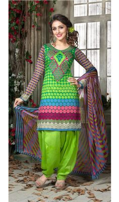 Grass Green Neon Plum-S Cotton Print Patiala Salwar Suits