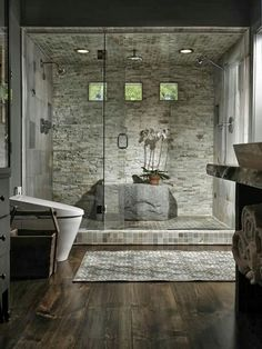 Stone Shower Bathroom Design Ideas, Pictures, Remodel and Decor Bad Inspiration, Bathroom Inspiration, Dream Bathrooms, Beautiful Bathrooms, Luxury Bathrooms, Master Bathrooms, Spa Bathrooms, Modern Bathrooms, Master Baths