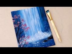 Easy Painting Tutorial - Easy Waterfall Landscape Painting Tutorial For Beginners Step How To Paint Willow Tree Moon Beginner Painting Canvas Painting Acrylic Painting Tutoria. Easy Landscape Paintings, Waterfall Paintings, Simple Canvas Paintings, Easy Canvas Art, Easy Canvas Painting, Easy Paintings, Acrylic Landscape Painting, Oil Paintings, Matisse Paintings
