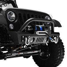 GSI Jeep Wrangler JK Black Textured Short Stubby Front Bumper With Fog Lights Hole & D-Ring & Winch Plate (Black) Stubby Bumper offer an rugged appearance and maximum tire clearanc… Jeep Rubicon, Jeep Winch, Jeep Jku, Jeep Wrangler Unlimited, Jeep Front Bumpers, Jeep Wrangler Bumpers, Black Jeep Wrangler, Wrangler Sahara, Wrangler Accessories
