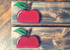String Art- stained wood, apples, red, leaves, green, teacher, doctor, handmade Made By: Jennifer MacLeod Schutt