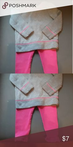 Baby girl lounge wear size 2T Cute grey sweatshirt with pink lining and pink leggings with ruffle detail at the bottom.  Shirt is Circo 2T and pants are Gap 18-24 months. GAP Matching Sets