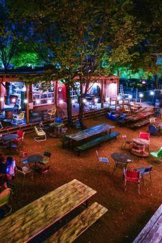 food truck yard with a treehouse bar Dallas Tx