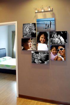 Loft area - family photos on canvas