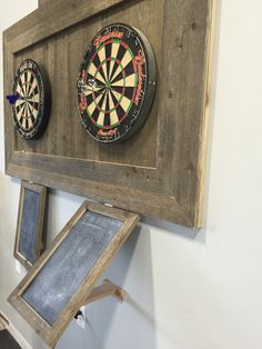 Handmade reclaimed wood dart board wall & score boards