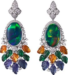Cartier - Etourdissement high jewelry collection -Earrings mounted on white gold with opal, tsavorites, tanzanites and diamonds High Jewelry, Modern Jewelry, Bling Jewelry, Vintage Jewelry, Black Opal Jewelry, Cartier Earrings, Cartier Jewelry, India Jewelry, Fantasy Jewelry