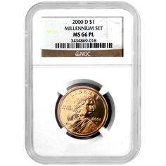 2000 Denver (D) Sacagewea Dollar Millennium Set Burnished MS66 Proof Like (PL) NGC    Most 2000-D Sacagawea Dollars that originated from the Millenium Coin & Currency Set had a special burnished finish.