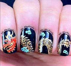 Top 16 Happy Chinese New Year Nail Designs – New Famous Fashion Manicure Trend So Nails, New Year's Nails, Cute Nails, Hair And Nails, Happy Nails, Fall Nails, New Years Nail Designs, Nail Art Designs Videos, Trendy Nail Art