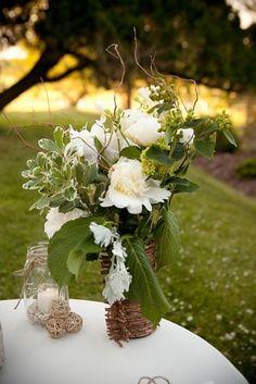 Cream lambs ear hydrangea branch centrepiece by Holly Heidler Chapple