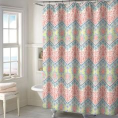 New Sage Chevron Shower Curtain in Coral - BedBathandBeyond.com