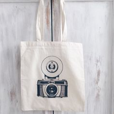 Cotton Canvas tote bag photography camera by elkedagelbrich