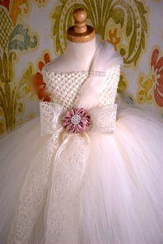 Cream Decadence Luxury Pearls Girls Boutique Tutu Dress