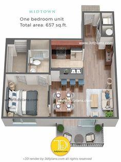 Studio Apartment Floor Plans, Condo Floor Plans, Kitchen Floor Plans, Bedroom Floor Plans, Sims House Plans, House Layout Plans, House Layouts, Florida Apartments, Sims 4 House Design