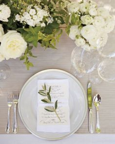 Love calligraphy and simple ecru menu for each guest. Note the properly aligned silverware and stemware (heart).