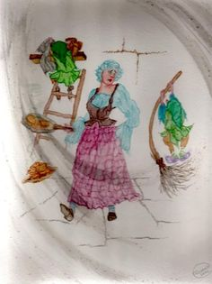"""Scottish Fairy Tales"" original watercolor illustration from artist Marina Sciascia (USA)"