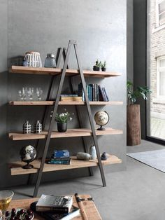 When the shelving unit is made furniture-deco. Hanging Beds, Bedroom Green, Tiny Spaces, Furniture Making, Living Room Decor, Bookcase, Sweet Home, House Design, Interior Design