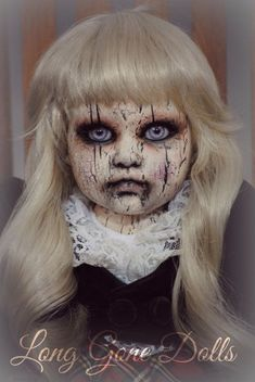 """Britton Leigh"" by Long Gone Dolls. Are you looking for scary horrifying Halloween makeup ideas for women to look the best at the Halloween party? See our photo collage to pick the one that fits the Halloween costume."