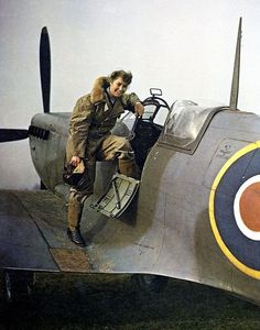 "F/O Violet ""Vi"" Milstead climbs into one of the first Spitfire LF Mk XI fighters at Castle Bromwich in March 1943 to ferry the aircraft to one of the squadrons of the Biggin Hill Wing. The 23-year-old Canadian was one of 166 ATA women, logging 600 hrs while flying 47 types of aircraft, themselves divided in 74 different marks. Sometimes, she had to perch on a parachute sack or her black leather overnight bag just to see the controls."