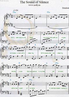 Disturbed - The Sound of Silence Baixar PDF Piano Partituras Digitais - music - Gata Clarinet Sheet Music, Violin Music, Piano Songs, Saxophone, Music Music, Keyboard Sheet Music, Guitar Songs, Guitar Chords, Banjo