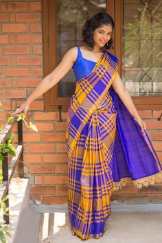 Blue mustard checked Uppada pure silk saree with pallu detail #saree #handloom #india #houseofblouse