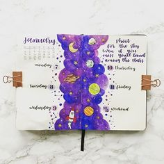 Looking for Inspiration on your latest Bullet Journal theme? Here are 12 Out of this world galaxy and space themed bullet journal spreads Bullet Journal Writing, Bullet Journal School, Bullet Journal Themes, Bullet Journal Spread, Bullet Journal Layout, Bullet Journal Inspiration, Journal Ideas, Bellet Journal, Journal Aesthetic
