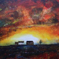 ARTFINDER: Pennine Sunset by David Coldwell - A wonderful sunset image with a classic Pennine farmhouse and barn.   Painted onto canvas board using the finest artists' acrylics and finished with two co...
