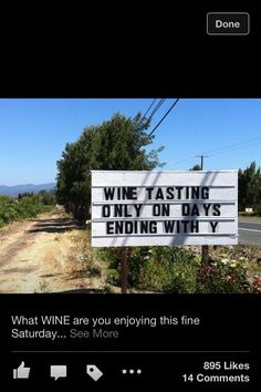 Wine Tasting only on days ending with Y.