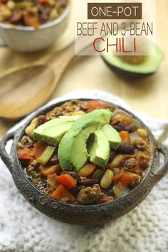 One-Pot, One Meat, 3 Beans. What more could you want from chili? A perfect and hearty lunch or dinner for Fall!