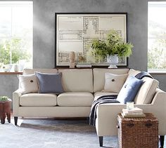 """Beverly Upholstered 3-Piece L-Shaped Sectional #potterybarn - 88"""" w x 88"""" d x 32"""" d x 35"""" h"""