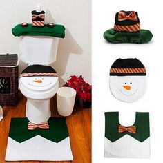 Santa Toilet Seat Cover & Rug Christmas Decorations